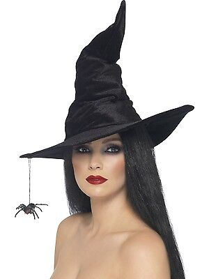 Black Witch Hat w/Spider Halloween Fancy Dress Witches Costume Accessory