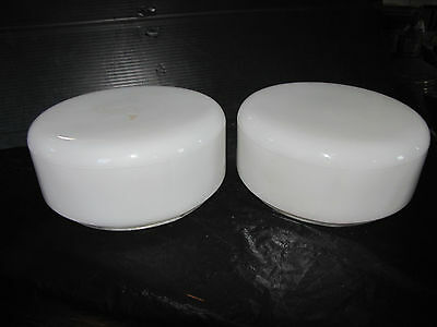 "Pair Of 9""dia Mid Century Modern Opal White Dome Shades (3278)"