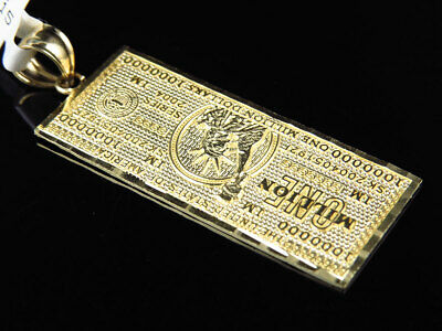 Solid 10K Yellow Gold One Million Dollar Currency Diamond Cut Pendant Charm