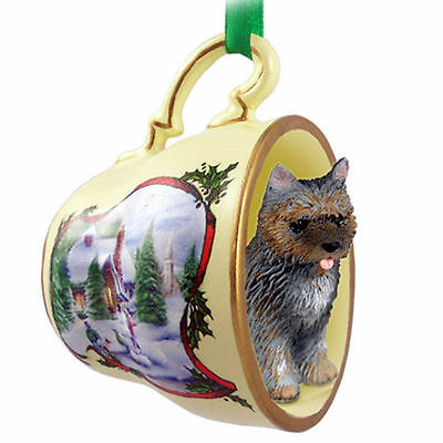 Cairn Terrier Dog Christmas Holiday Teacup Ornament Figurine Brindle