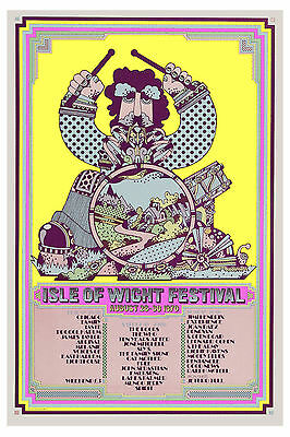 Festival Rock:  Jimi Hendrix & Others at Isle of Wight Concert Poster 1970
