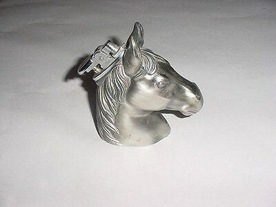 Vintage Silver Pewter?? Table Top Horse Head Gas Lighter Japan