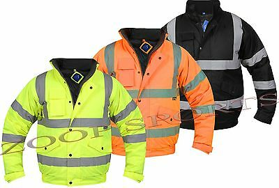 Hi Viz Vis Visibility Bomber Padded Security Safety Jacket