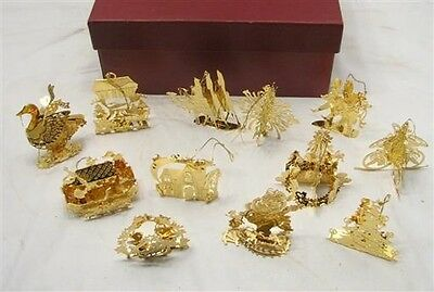 1991 Danbury Mint Gold Plated Christmas Tree Ornaments Set 12 Holiday Collection