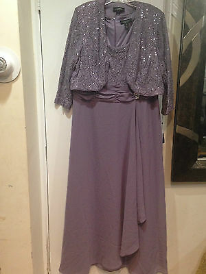 Mother of Bride Groom Wedding evening Prom Gown &Jacket formal wear plus 16W 1X