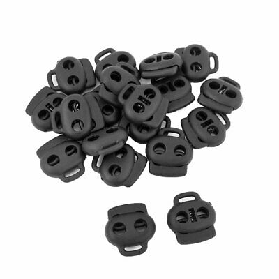 Black 5.6mm Diameter Hole Spring Loaded Rope Cord Locks Ends Toggles 20 Pcs