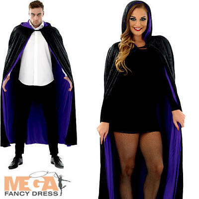 Purple & Black Long Hooded Cape Adults Fancy Dress Halloween Mens Ladies Costume