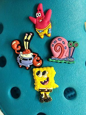 4 SpongeBob SquarePants & Friends Shoe Charms For Crocs & Jibbitz Wristbands.