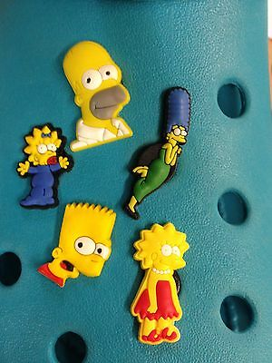 5 Simpsons Family Shoe Charms For Crocs & Jibbitz Wristbands.