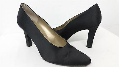 a957d6625 YSL Yves Saint Laurent BLACK satin metallic gold slip on pumps heels 7M  wms#79