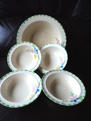 Gorgeous Art Deco Hand Painted Fruit Set Unmarked