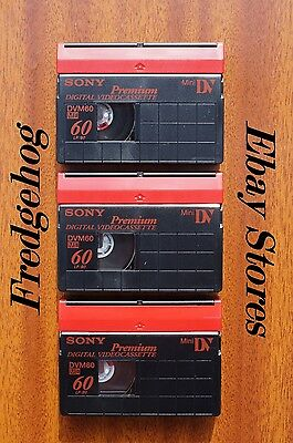 PK of 3 x SONY PREMIUM QUALITY DVM-60 MINI DV VIDEO CAMCORDER TAPES / CASSETTES