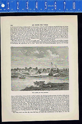 Fort Smith on the Arkansas River - 1880 Wood Engraved Page of History