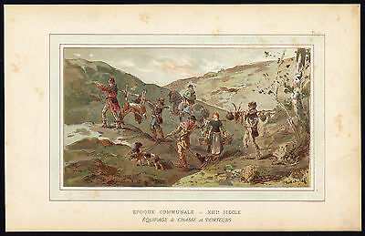 Antique Print-TRANSPORT-MIDDLE AGES-HUNTING PARTY-CARRIERS-Cattier-Heins-1885