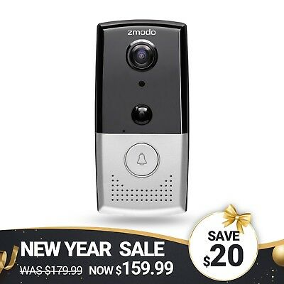 Zmodo Greet 720p Smart WiFi Video Doorbell W/ 145° Wide Angle and Two-Way Audio