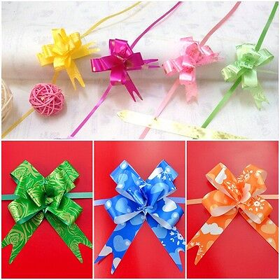 New 10Ps Flower Bow Wrap Pull Ribbon Plastic Decoration Gift Wrapping Supplies