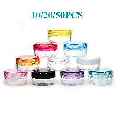 10-50Pcs Clear Plastic Empty Cosmetic Sample Container 3 Grams Jars Pot Small