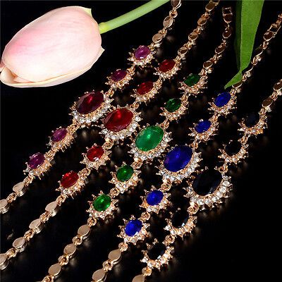 18k Gold Plated  Austrian Crystal Nice Women Bracelet Chain Fashion Jewelry Gold
