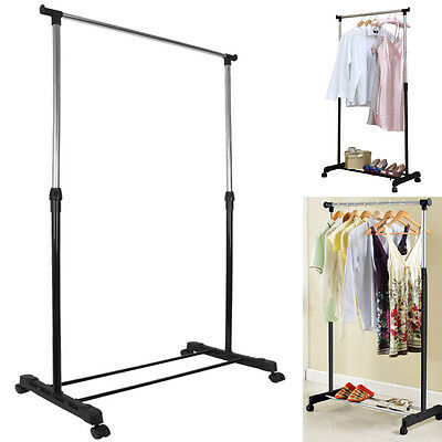 Heavy Duty Adjustable Mobile Clothes Hanging Rail Rack Storage Stand On Wheels