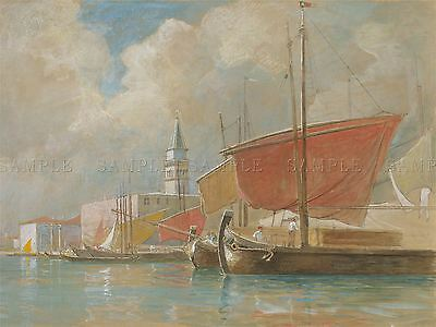 William Stanley Haseltine American Shipping Molo Venice Artwork Print Bb6534A