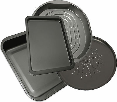 4 Piece Large Non Stick Cooking Oven Baking Roasting Pan Roast Tin Pizza Trays