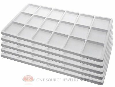 5 White Insert Tray Liners W/ 18 Compartments Drawer Organizer Jewelry Displays