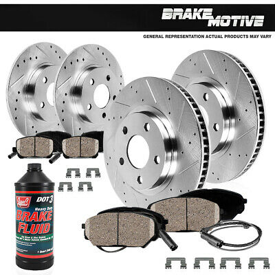 Front & Rear DRILLED SLOTTED BRAKE ROTORS & CERAMIC PADS Audi A5 A4 QUATTRO Q5