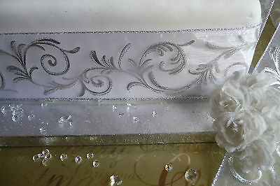 Luxury White / Silver flock Wire edge Ribbon for Wedding or Christmas decoration