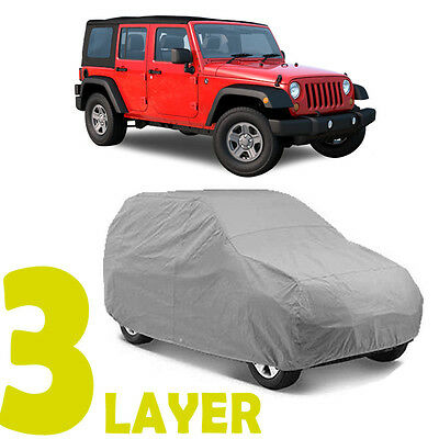 TRUE 3 LAYERS GRAY FITTED SUV COVER OUTDOOR WATER RESISTANT for JEEP WRANGLER