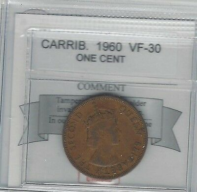 **1960**Caribbean ,One Cent, Coin Mart Graded **VF-30**