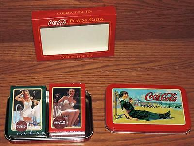 MIB USA DRINK COCA-COLA 2 SEALED DECKS PLAYING CARDS w/EMBOSSED COLLECTOR TIN