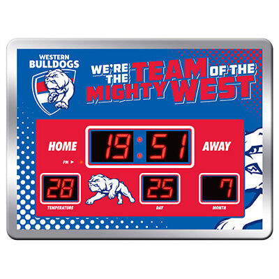 Western Bulldogs AFL Glass SCOREBOARD LED Clock Date Time Temp Man Cave Gift 8LP