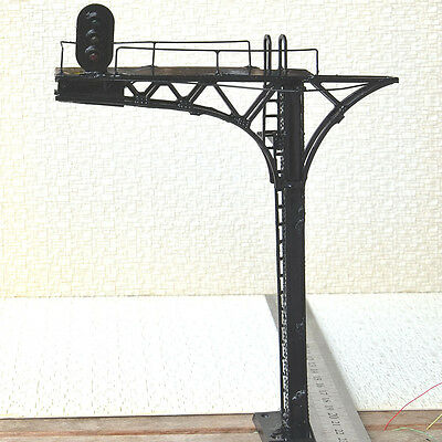 2 x O scale 1:48 Cantilever Signal Bridge prewired LEDs 3 aspects single Track