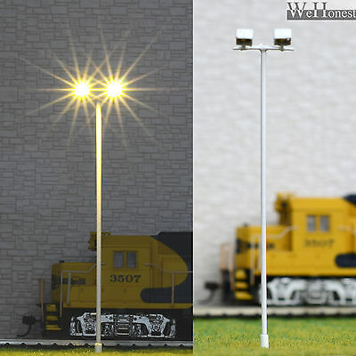 6 pcs HO/OO Model Floodlight warm white LED made Plaza Lamppost longlife #012