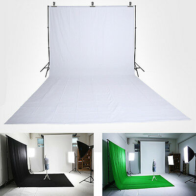 1.6x3m Photo Studio Screen Black White Green Background Backdrop Light Stand Kit