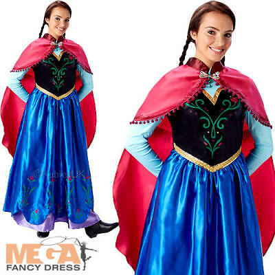Princess Anna Ladies Fancy Dress Disney Frozen Fever Womens Adult Costume Outfit