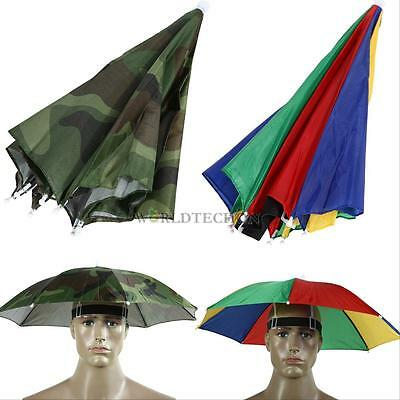Foldable Umbrella Hat Cap Beach Fishing Hands Camping Sun Rain Headwear Brolly