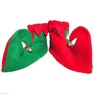 Christmas Elf Pixie Shoes Boots With Bells Adult Fancy Dress Party Costume 53463