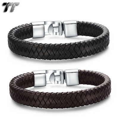 TT Leather 316L Stainless Steel Bracelet Wristband (BR190) NEW Arrival