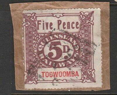 "QUEENSLAND Early 5d Rail Stamp ""Toowoomba"" Used on Piece"