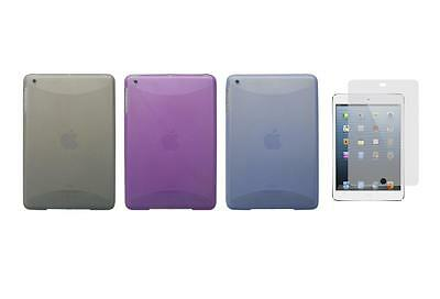 TPU Gel Skin Cover Case and Screen Protector for Apple iPad Mini 1st Gen