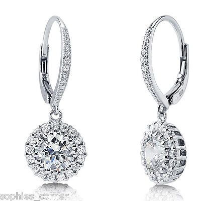 4 ct. Created Diamond Dangle Halo Earrings ~ Leverback ~ White Gold over Silver