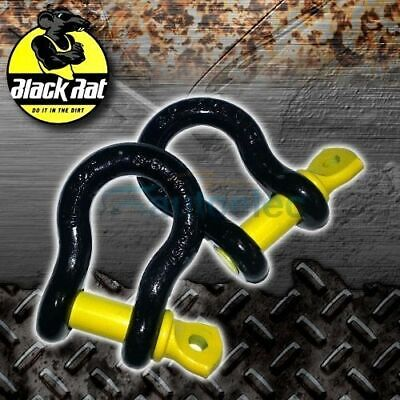 2x  BLACK RAT 3.2 TONNE 4WD 4X4 RECOVERY BOW 2 SHACKLES SHACKLE SNATCH 16 X 19