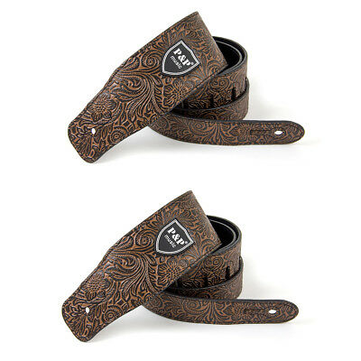 2pcs Padded Guitar Strap Leather Embossed Adjustable For Acoustic Electric Bass