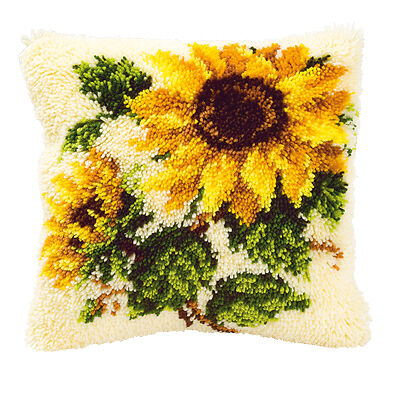 NEW | Vervaco 2560/3595 | Sunflowers Cushion Front Latch Hook Kit | 40 x 40cm