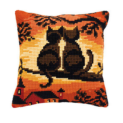 Vervaco 1200/752 Lrg Hole Canvas Sunset Cats Cushion Front Cross Stitch Kit 40cm