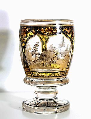 Antique handpainted, black & gold enamel glass Beaker, Vase, circa 1830, Bohemia