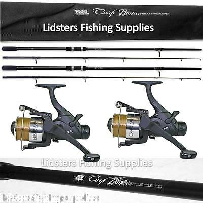 2 x 12ft Lineaeffe Carp Hunter Fishing Rod 2pc 2.75lb + 2 EG60 Fishing Reels