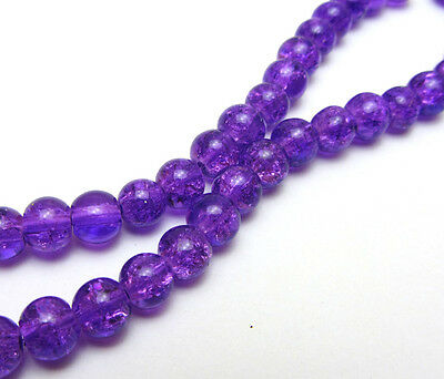 50 Pink Purple Crystal Crackle Glass 8mm Round Beads *
