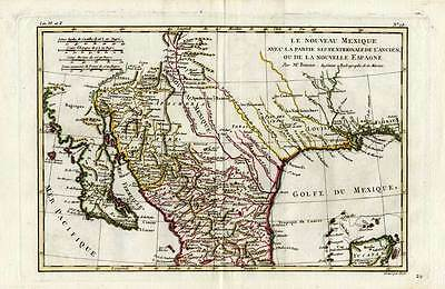 Antique Map-USA-MEXICO-GULF-BAJA-CALIFORNIA-Bonne-1780